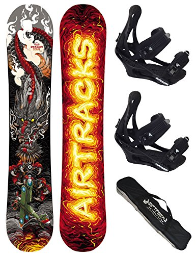 AIRTRACKS SNOWBOARD SET / DRAGON SOUL CARBON SNOWBOARD WIDE ROCKER + SOFTBINDUNG SAVAGE + SB BAG / 155 158 / cm
