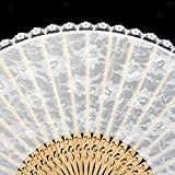 ELECTROPRIME White Folding Hand Held Bamboo Pocket Fan With Display Stand Wedding Decors