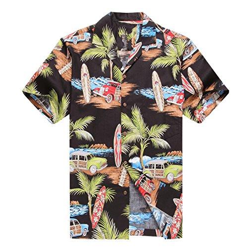 13ff3ee47 a Hecho en Hawaii Camisa hawaiana de los hombres Camisa hawaiana 2XL Plam  Surfboard Coches en Negro