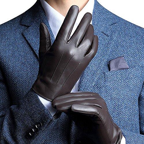FLY HAWK Winter Handschuhe aus Echtem Leder Herren Lederhandschuhe für Touch Screen geeignet, warm gefütterte klassische Handschuhe mit Geschenk-Verpackung, Schwarz/Braun -