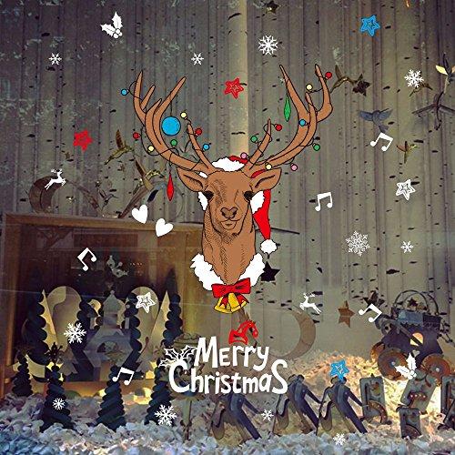 Togel Weihnachten Sticker Frohe Weihnachten Startseite Haushalt Zimmer Wandaufkleber Wandbild Dekor Aufkleber Abnehmbare Rote Socke Weihnachten Hirsch Schmetterling Aufkleber Cartoons niedlich