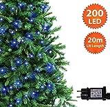 Weihnachts-Lichterketten 200 LED Blau Baum-Lichter Innen- und im Freiengebrauch Weihnachtsschnur-Lichter Gedächtnisfunktion, 20m/66ft Anschlussdraht - Grünes Kabel - 2 Jahre Garantie