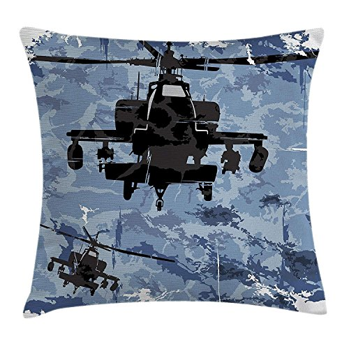 (War Home Decor Throw Pillow Cushion Cover, Silhouettes of Armed Helicopters with Grunge Epic Back Airforce in Battle, Decorative Square Accent Pillow Case, 18X18 inches, Blue Black)