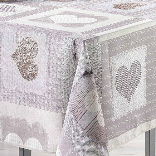 Couleur Montagne Toucher Soft Cosy Nappe Imprimé Cœur en Polyester 150 x 240 cm