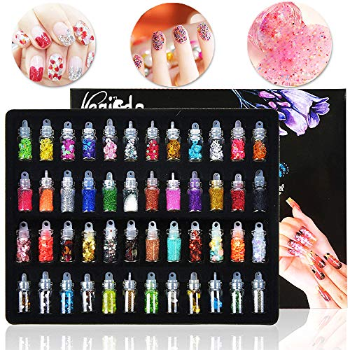 Magicdo Glitter per unghie, Decorazione unghie in 3D con Mini Bottles, Set Art Glitter, Polvere di pigmenti per progetti artistici, Scrapbooking, Chiodi, Faccia, Eyes Art, Set di 48 Bottiglie