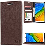 #10: Wallet Flip Cover for Redmi 5, DMG Premium PU Leather ID Flip Cover Stand Case for Xiaomi Redmi 5 (ID Coffee)