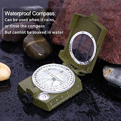 Militär Marschkompass Professioneller Taschenkompass Peilkompass Kompass mit Klinometer Tragschlaufe, Tasche - 4