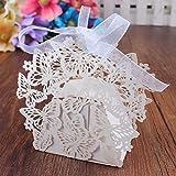 PONATIA 50pcs / set Romantische Hochzeit begünstigt Dekor-Schmetterlings-DIY Süßigkeits-Plätzchen-Geschenk-Kästen Hochzeits-Party-Süßigkeit-Kasten mit Band (weiß)