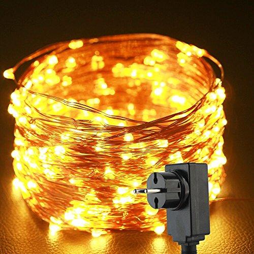 Preisvergleich Produktbild Uping Lichterkette 20M 200 LEDs Kupferdraht LED Kupfer Wasserdicht Sternen Kupferdrahtkette mit DC 5V Niederspannungstransformator und 8 Programm