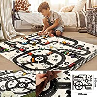Road Play Mat, Kids Carpet Playmat Rug City Life Great for Playing with Cars and Toys Play Learn Have Fun Safely Kids Baby Children Educational Road Traffic Play Mat Bedroom Play Room Game Safe Area