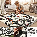 Tappetino da gioco su strada, Road Play Mat, Kids Carpet Playmat Rug City Cars and Toys Play Learn Have Fun Safely Kids Baby Children Educational Road Traffic Play Mat Bedroom Play Room Game Safe Area