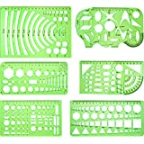 Frienda 6 Pieces Drawings Templates Measuring Template Plastic Geometric Rulers for Office and School, Clear Green