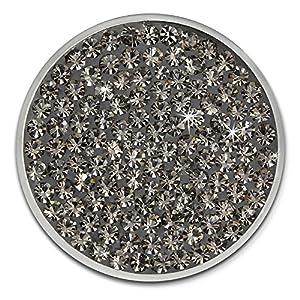 Amello Coin Edelstahl-Schmuck Coin mit Zirkonia grau – Coin für Amello Coinsfassung für Damen – – 30 mm, Größe M Edelstahlschmuck Stainless Steel ESC301K