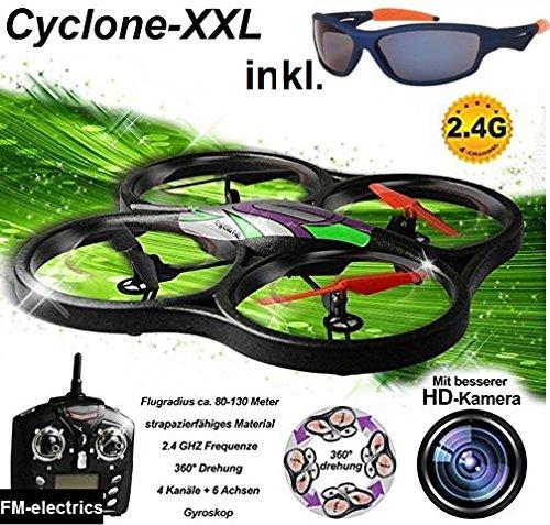 Fm-electrics | Riesiges XXL Ufo, Cyclone-R809v Quadrocopter mit extrem widerstandsfähigem Elapor-Rahmen und HD Kamera !! Super Spaß-Drohne ! Mit Sport-Sonnenbrille !
