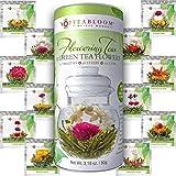 Teabloom Natürlich Blühender Tee - 12 einzigartige Sorten blühender Teekugeln - Von Hand gebundener grüner Tee & essbare Blüten - 12er Pack Geschenkdose - 36 Aufgüsse, ergibt 250 Tassen