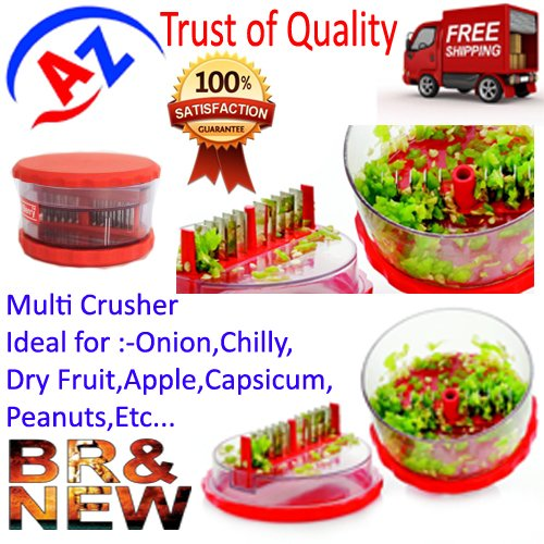A to Z Sales Plastic Delight Multi Vegetable Crusher,Chopper,Slicer,Cutter.Ideal for Onion,Dry Fruit,Fruit,Capsicum,Peanuts..Etc - Multi Color-AZ5013  available at amazon for Rs.210