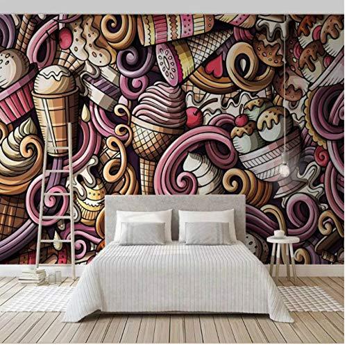 Pbldb Handgezeichnete Cartoon-Eis 3D Wallpaper Für Wände Kaltgetränk Restaurant Tee-Bar Ktv Hintergrund Tapeten Wanddekoration-200X140Cm - Eis-bar-restaurant