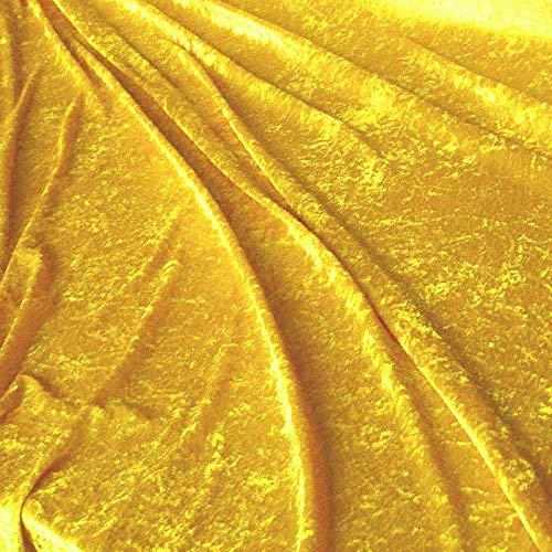 TOLKO Dekostoff - Pannesamt Meterware mit Stretch zum Nähen, Basteln - für Dein Dekoprojekt (Gold-Gelb) (Gold Stoff Tischdecke)