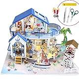 Jeteven 3D DIY Puppenhaus 2 Etagen Puppen-Villa mit LED licht + Möbeln (Über 50 Teile) + Montage + Montageanleitung (Blaues Haus)