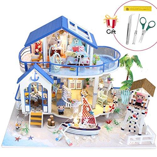 Jeteven 3D DIY Puppenhaus 2 Etagen Puppen-Villa mit LED licht + Möbeln (Über 50 Teile) + Montage + Montageanleitung (Blaues Haus) - Modell-holz-bodenbelag