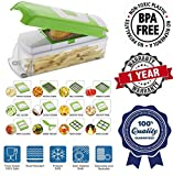 #3: Vegetable Cutter with Chopper - Fruit Cutter - Cheese Shredder - Vegetable Grater - Vegetable Slicer - Chips maker - French Fries maker - Best Kitchen Tool - Unbreakable Poly-Carbonate Body - 100% Virgin A Grade Plastic - High Grade Rust Free Stainless Steel Blades - 12 BLADES WITH PEELER - EASY PUSH & CLEAN SYSTEM - ABS FOOD GRADE MATERIAL - INTERNATIONAL DESIGN - PROUDLY MAKE IN INDIA