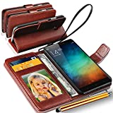 N+ INDIA Rich Leather Stand Wallet Flip Case Cover Book Pouch Phone Bag Antique Leather for Xiaomi Redmi 5 with Big Touch Stylus Pen Brown