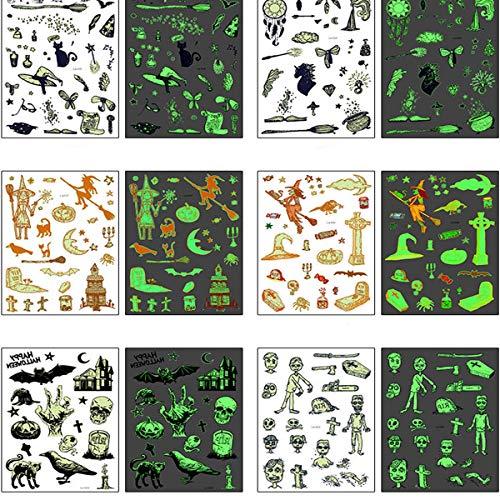 Joylora TemporäR TäTowierung Halloween Tattoos Sticker Glow KöRperkunst Kleine Aufkleber Arm FüR MäNner Frauen, Umweltfreundlich Wasserdicht Lustiges Element (15 ()
