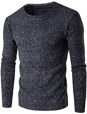 MEI&S Hombre de tejer la tripulación de puente en el cuello, suéter suéter caliente