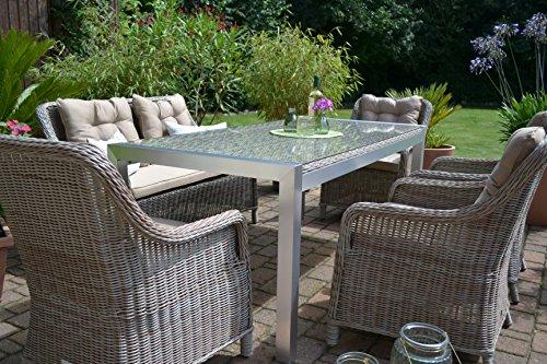 Gartenmöbel Set Tisch Bank Und 4 Sessel Rattan Polyrattan Geflecht