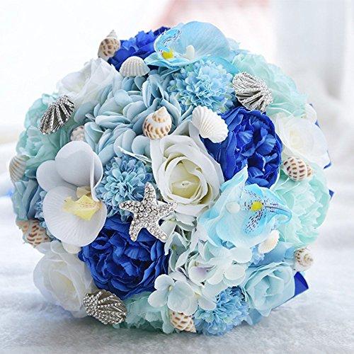 Brautstrauß, Hochzeit Zubehör, Handgemachte Hawaii Ocean Star Künstliche Blumen Seidenblumen Weiß Mix Blau