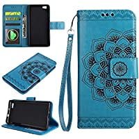 Huawei P8 Lite Wallet Case, EST-EU Retro Mandala Embossing PU Leather Stand Function Protective Covers with Card Slot Holder Wallet Book Case for Huawei P8 Lite, Blue