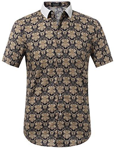 SSLR Herren Barock Sommer Regular Fit Freizeit Kurzarm Hemd (Large, Khaki)