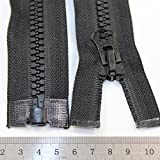 """Beads4Crafts BLACK 20"""" - 38"""" INCH CHUNKY ZIP No.8 OPEN END ZIPS HEAVY DUTY ZIPPER *10 SIZES *FREE UK POSTAGE* (38 Inch)"""
