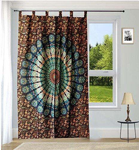 Indische Baumwolle Hippie Wandbehang Mandala Tapisserie Vorhänge, Boho Vorhänge, Drapes, Mandala, indische Vorhänge Mandala Wandbehang Fenster Behandlung Tür Aufhängen (Multi)