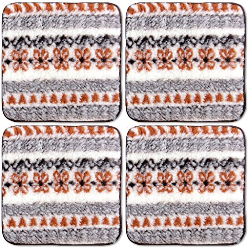 4er Pack Lammflor Stuhlkissen Sitzkissen Polsterkissen 36x36 cm Auswahl: creme - gemustert (Ess-sitz-kissen)