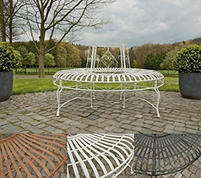 CLP 360° Metall Baum-Bank KAYDEN, Landhaus-Stil, rund Ø ca. 50 cm / 150 cm (innen/außen), Eisen lackiert, bis zu 6 Farben wählbar