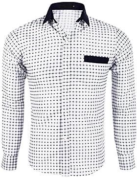 Miagolio Uomo Camicia Classica Slim Fit Maniche Lunghe di Ferro A Quadri