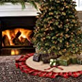 48 Inches Plaid Christmas Tree Skirt with Tartan Edging By Aytai