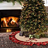 Aytai 122cm Burlap Christmas Tree gonne nero e rosso plaid Ruffle Edge Border Tree gonna per Xmas party vacanza decorazioni