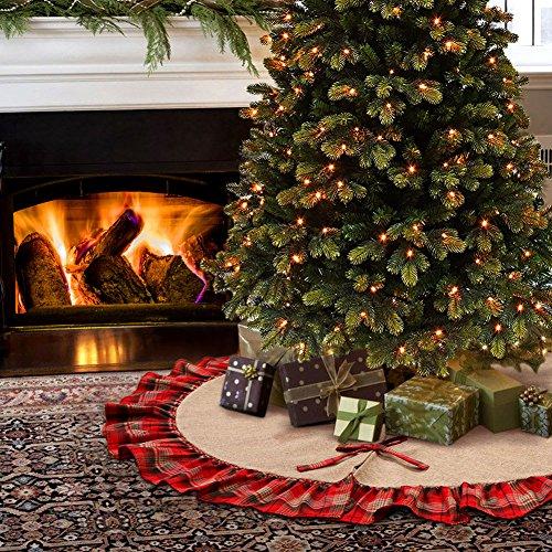 Aytai 122cm Burlap árbol de Navidad faldas negro y de cuadros escoceses rojos volantes Edge Border base de árbol de Navidad decoración de vacaciones de fiesta