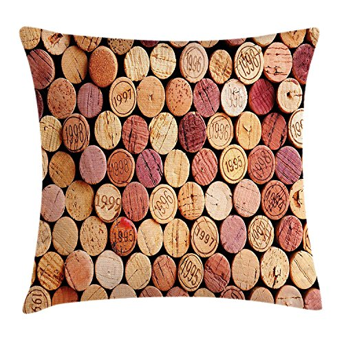 K0k2t0 Wine Throw Pillow Cushion Cover by, Random Selection of Used Wine Corks Vintage Quality Gourmet Taste Liquor, Decorative Square Accent Pillow Case, 18 X 18 Inches, Mustard Mauve Maroon -
