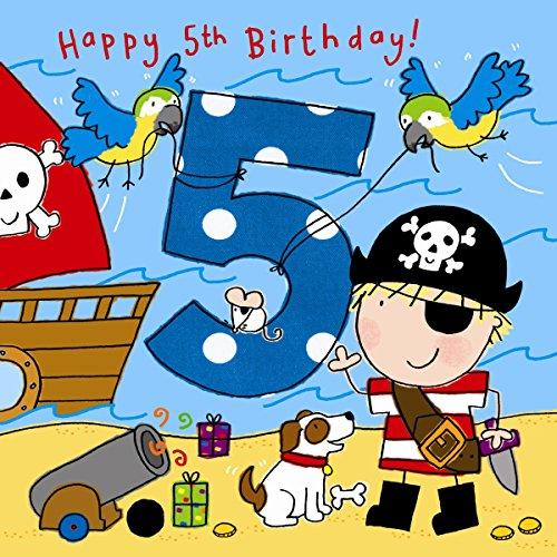 arte zum 5. Geburtstag, für Jungen, Motiv mit Piraten, Hunden und Glitzer,Kinder-Geburtstag, Alter: 5 (Piraten-hund)