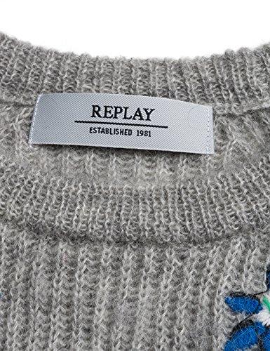 Replay Damen Pullover Grau (Medium Grey Melange M06)