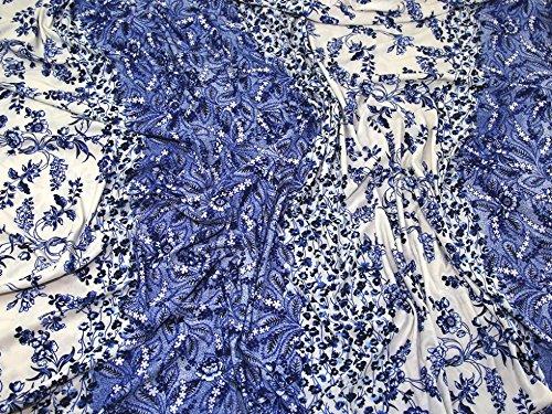 Floral Stripe Print Slinky Stretch Jersey Knit Kleid Stoff blau & weiß-Meterware - Slinky Stretch