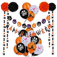 VEYLIN 31 Pieces Halloween Decoration Kit - Happy Halloween Bunting Banner, Pumpkin Garland, Tissue Paper Flowers, Spider Bats Garland and Balloons for Halloween Scary Scene Party Decorations
