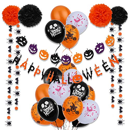 (VEYLIN 32pieces Halloween Party Deko-Set – Happy Halloween Banner, Pompons aus Seidenpapier, Blumen, Luftballons mit Band, Papier Girlande für Halloween Scary Szene Party Dekorationen)