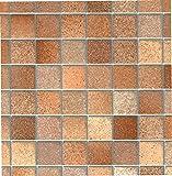 Fablon - Rotolo adesivo in velluto effetto piastrelle, 67,5 cm x 200 cm, colore: Marrone