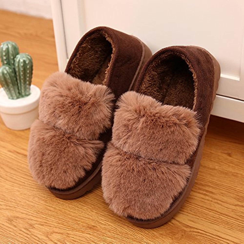 YMFIE Felpa de algodón cálido interior antideslizante zapatillas zapatillas zapatos,37,b  -