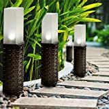 GloBrite Set of 4 Rattan Solar Post Ground Garden Solar Lights - White LED