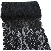 RUSPEPA 150mm Negro Bordado Floral elástico de Encaje elástico Tela del Ajuste de la Prenda y el Arte de DIY alimentación- 4.5 Metros